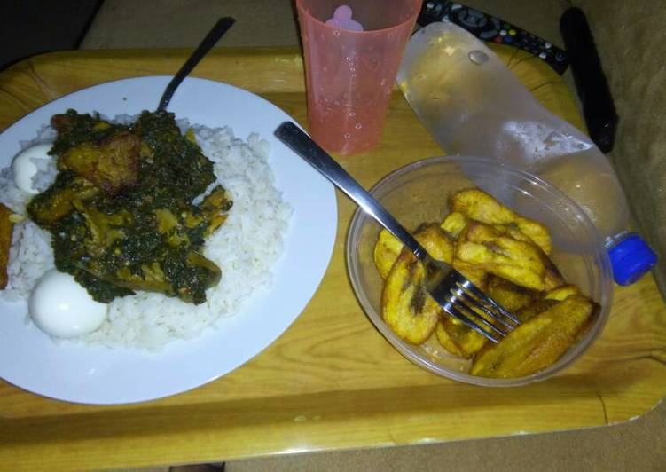 Rice, vegetable, meat, egg and plantain