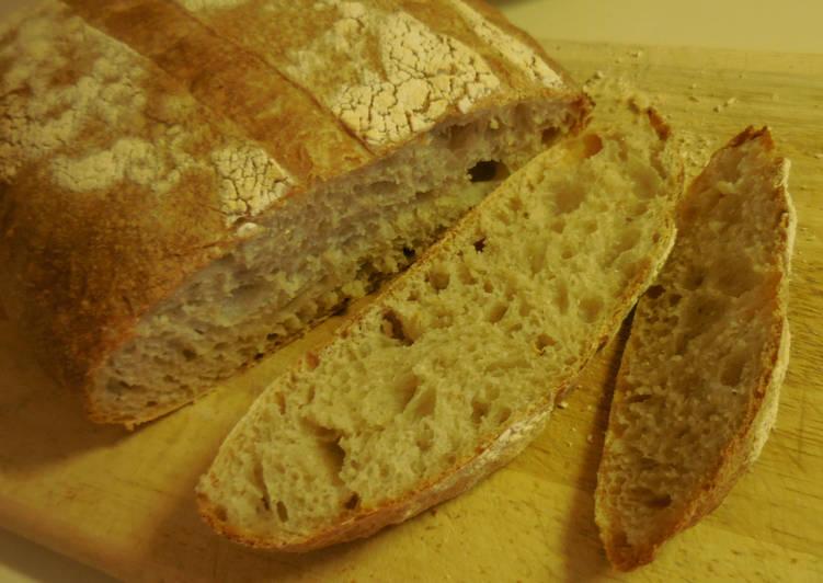 Overnight Sourdough Bread - Sticky Wet Dough