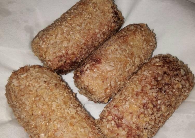 Roti gulung sosis oatmeal