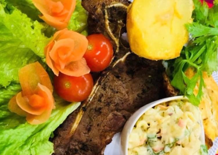 Simple Way to Make Ultimate Whosaynas Banting T bone Steak with Salad