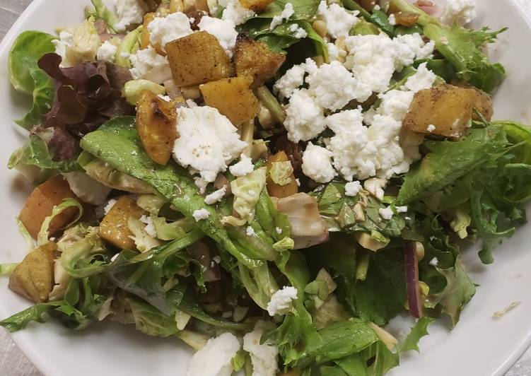 Roasted butternut squash & brussel sprout salad