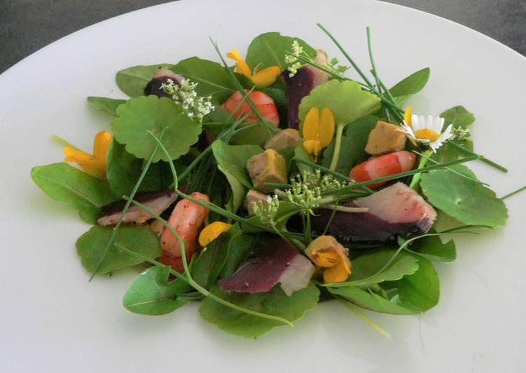 Comment Cuisiner Délicieux Salade terre-mer aux jeunes pousses et herbes sauvages