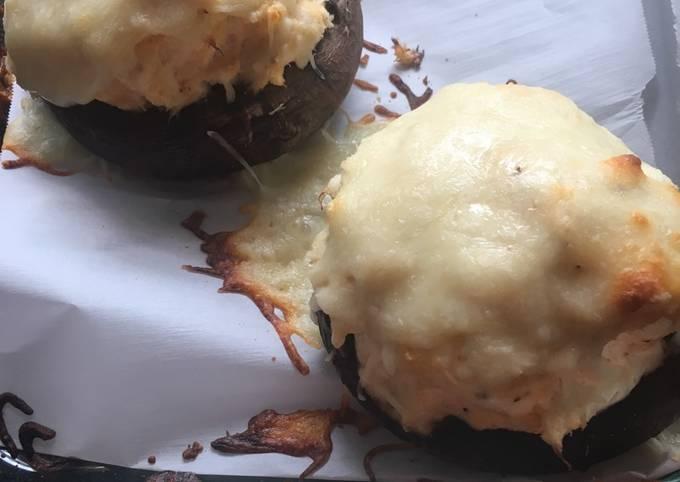 Crab stuffed portobellos