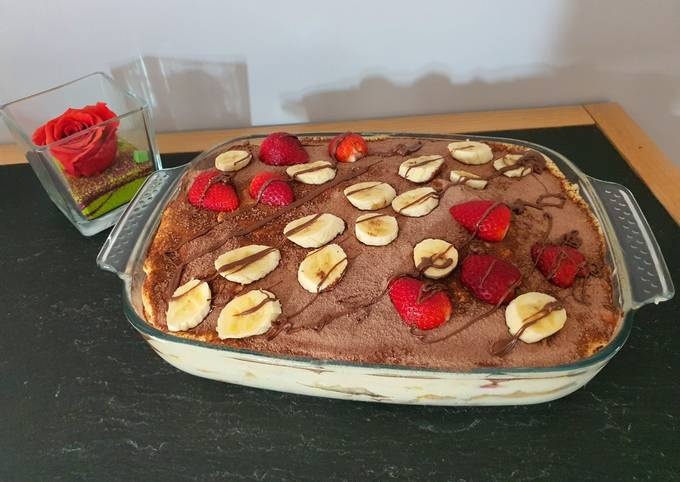 Tiramisu fraise et banane au Nutella
