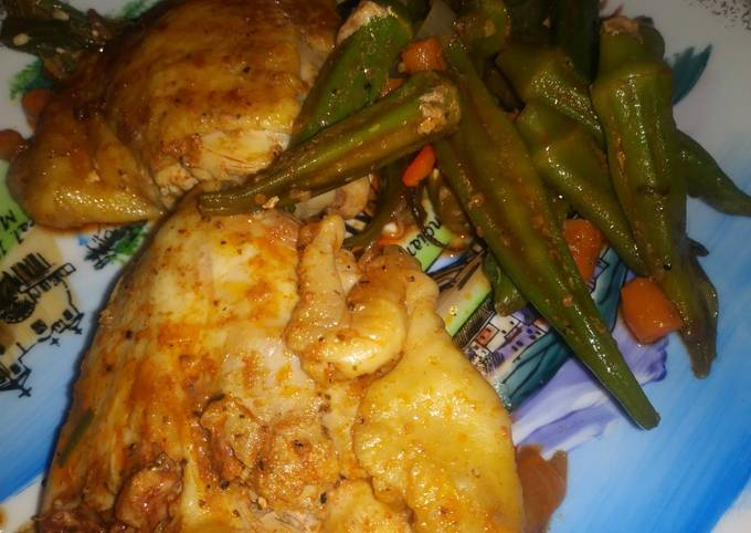 Grilled Chicken Thighs With whole Orka- Carrots