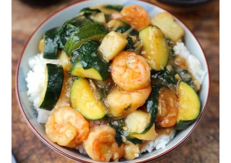 Shrimp Ankake Donburi(with zucchini and potatoes)