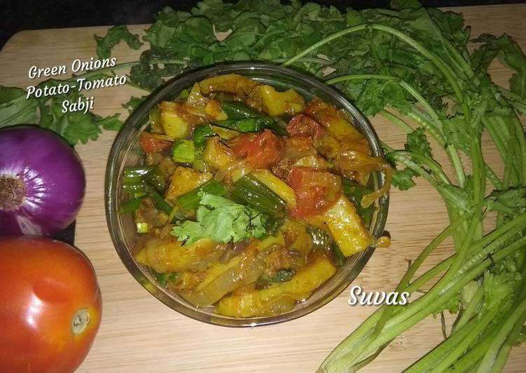 Green Onions Potato Tomato Sabji