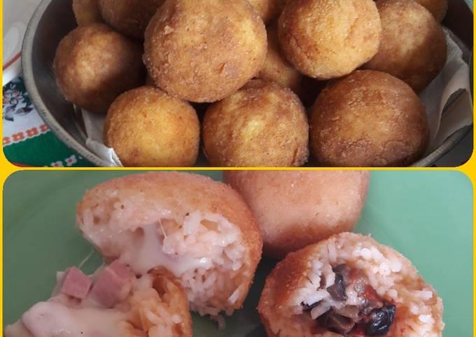 Recipe: Delicious Arancini con ripieno bianco ed Arancini con ripieno di melanzane