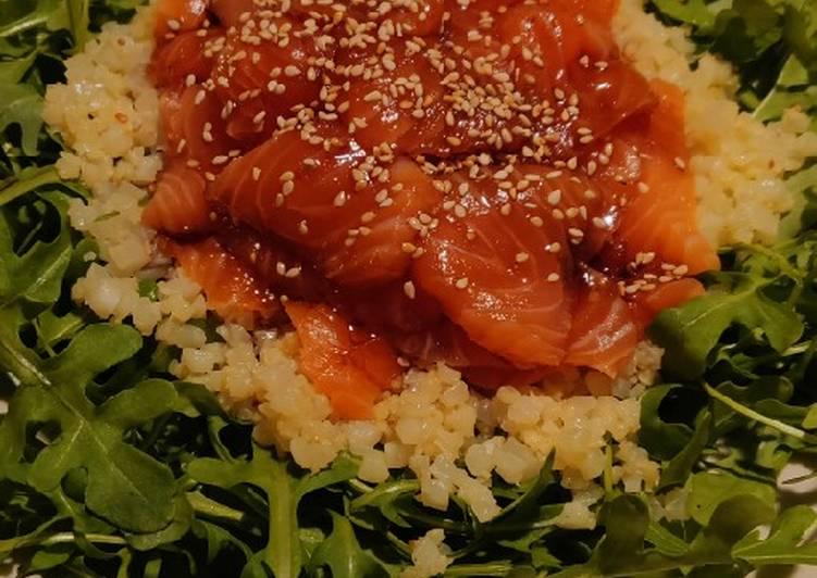 Sashimi coliflower salad