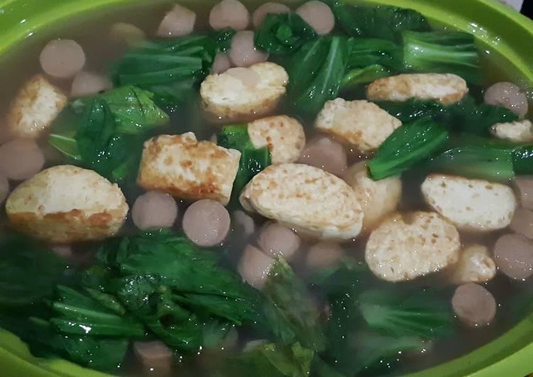 Oseng sawi sosis dengan tofu