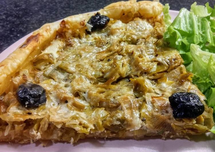 Tarte poireaux/champignons/oignon (vegan)