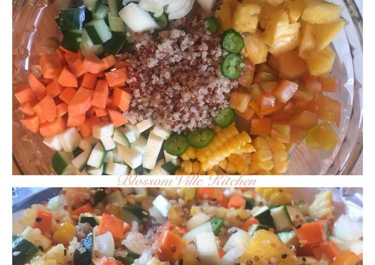 Cara Gampang Menyiapkan Quinoa Zuchini Salad no mayonaise Anti Gagal