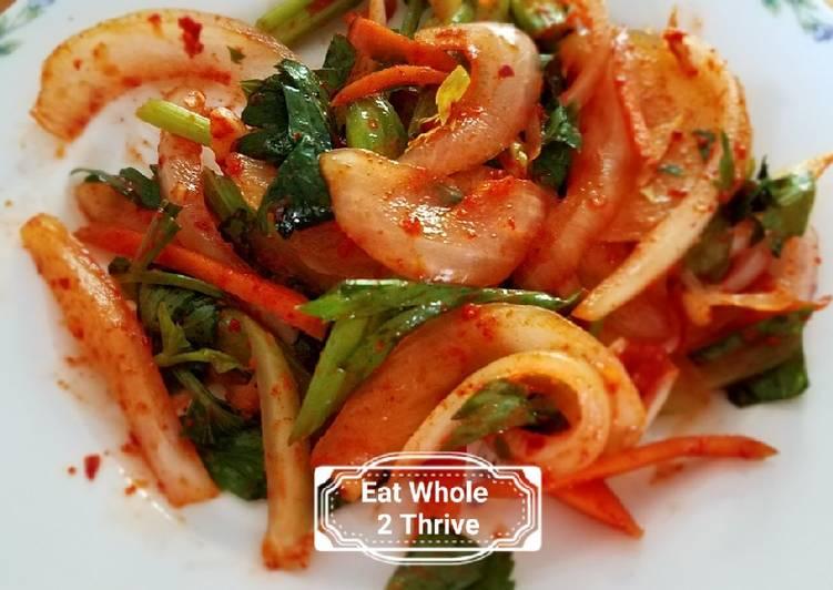 Spicy Celery Sweet Onion salad/lacto-fermentation