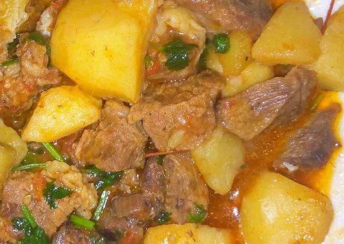 Stewed Beef served with Watu