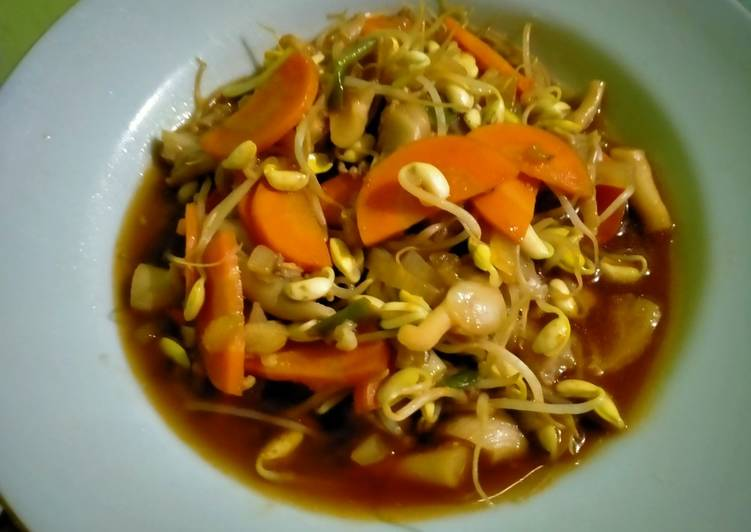 Tumis jamur tiram wortel toge
