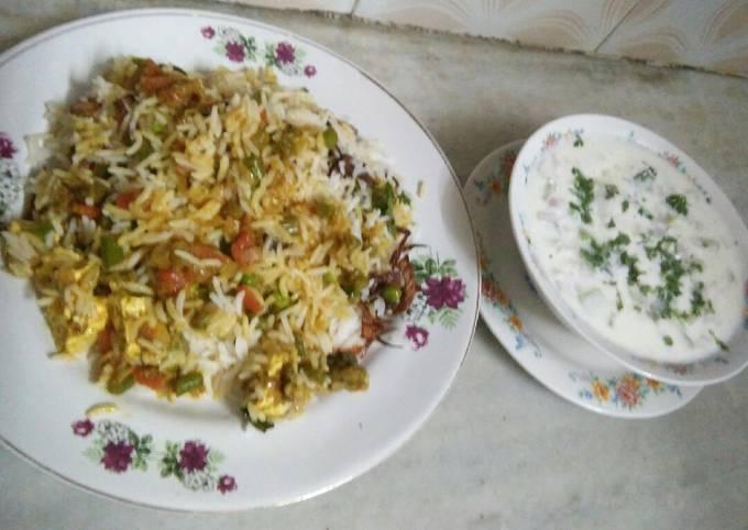 Veg Hyderabadi biryani with raita
