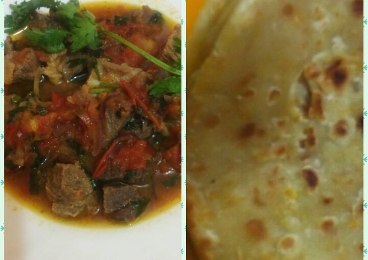 Carrot chapati with beef curry