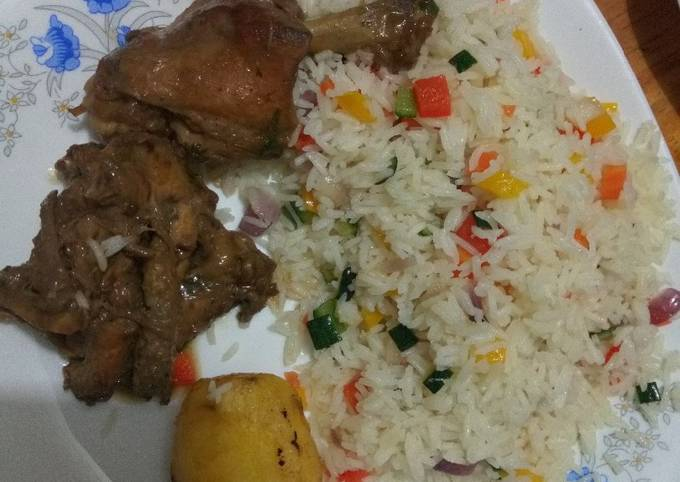 Recipe: Appetizing Fried chicken and vegetable rice #charity recipe