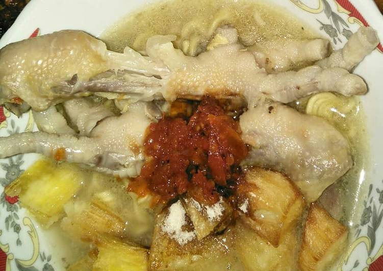 Cara Membuat Sup ubi ceker ayam Lezat