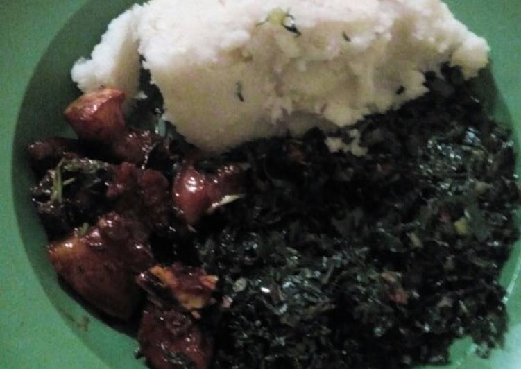 Ugali skuma with soy honey pork