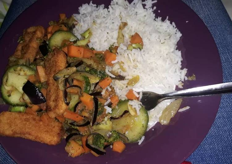 White Rice oven grilled fish & mixed veggies