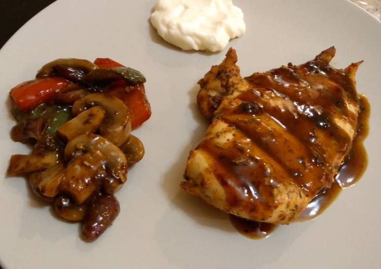 Easiest Way to Make Yummy Grilled chicken breasts with barbeque sauce