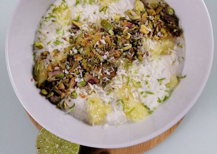 Recipe of Quick Overnight porridge with coconut, lime and pineapple