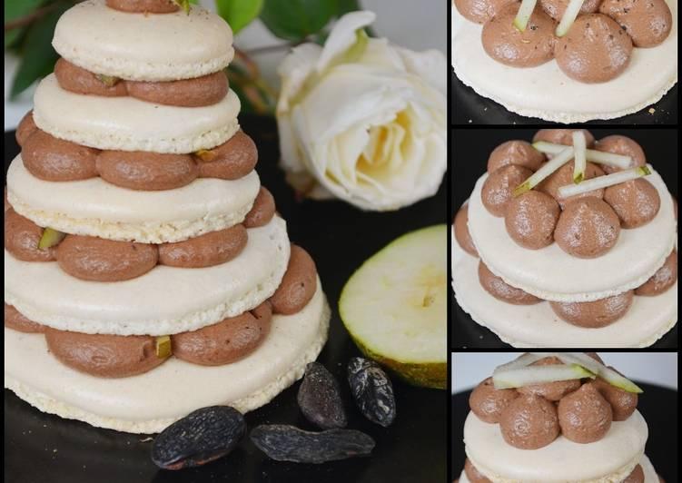 Pyramide de macarons poire chocolat