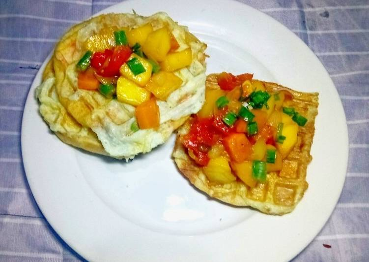 Steps to Prepare Ultimate Waffles and Omellet topped with glazed Honey Tomato Mango Salsa