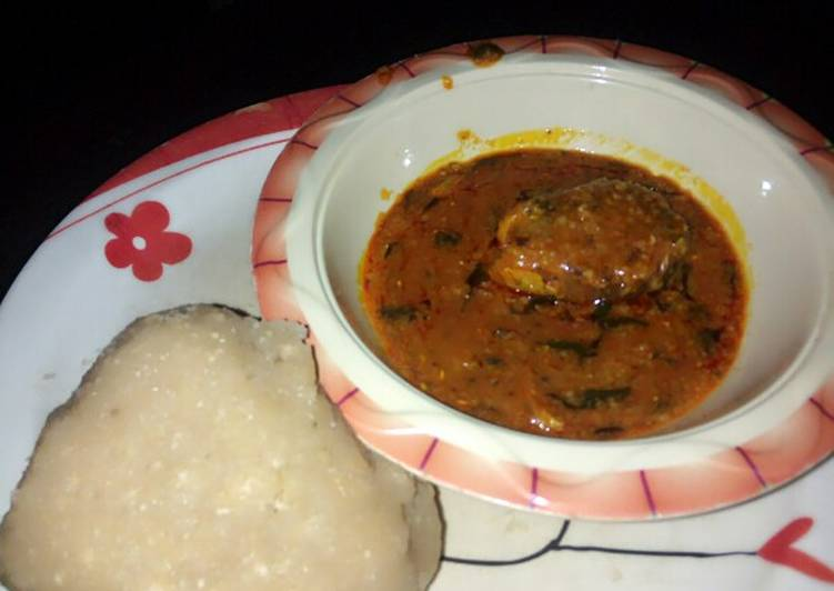 Eba and my local beans soup slightly garnished with scent leaves, What Are The Positives Of Consuming Superfoods?
