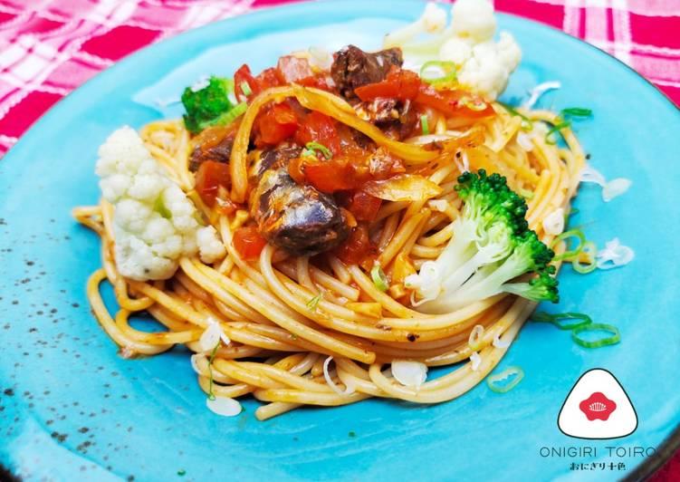 Spaghetti Sarden Saus Tomat イワシのトマト煮スパゲッティ(缶詰使用)Sardine Boiled Tomato Spaghetti (canned)