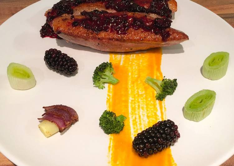Easiest Way to Make Award-winning Sous vide duck breast, blackberry sauce, roasted vegetables