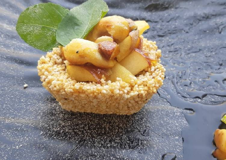 How to Make Favorite Rajgira jaggery tart with caramelized apple and nuts