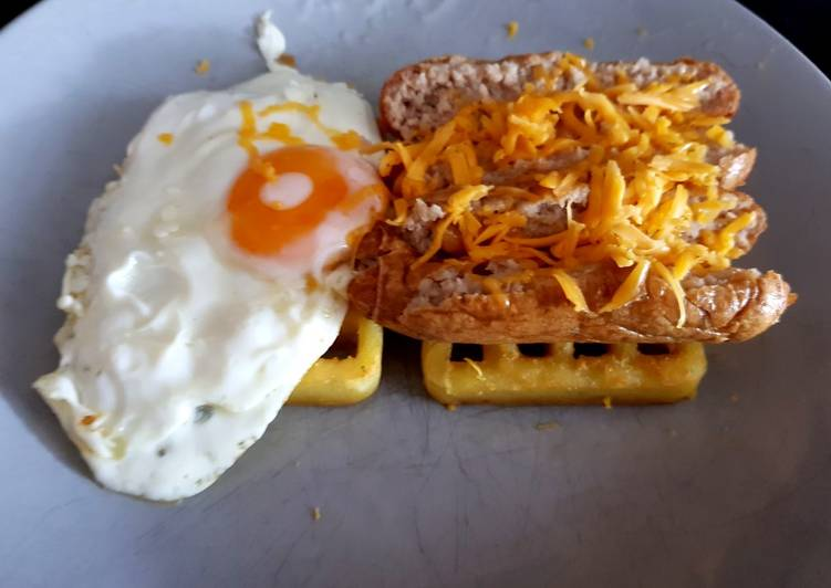 My Breakfast. Sausage & Egg on Toasted Waffles. 🙄