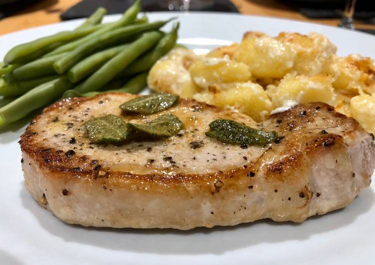 Pork loin with Crispy Sage Butter and Gnocchi Gratin