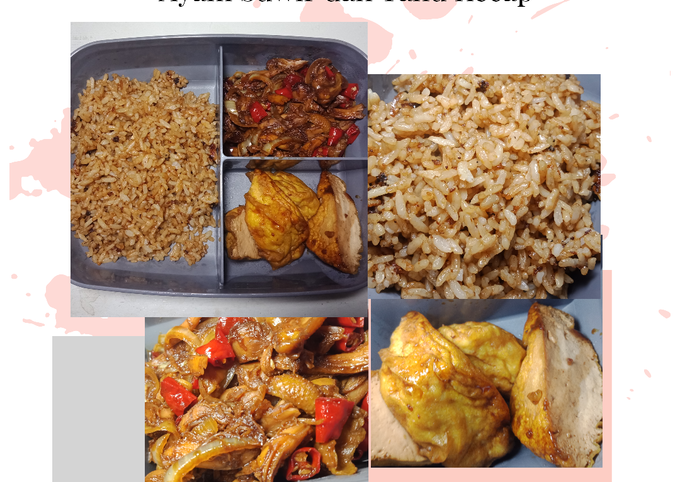 Nasi Goreng Kecap Wijen Ayam Suwir dan Tahu Kecap (Menu Bekal)
