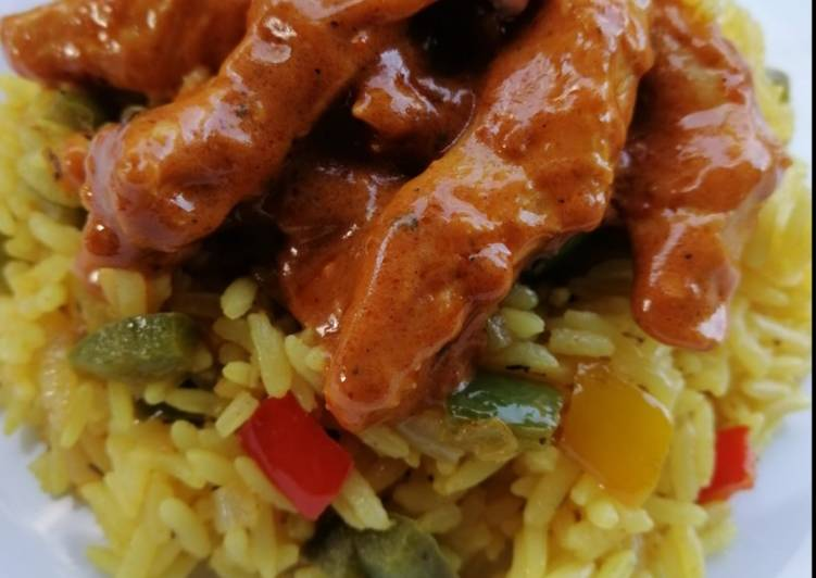 Steps to Prepare Ultimate Nandos style Peri Chicken Strips and Spicy Rice