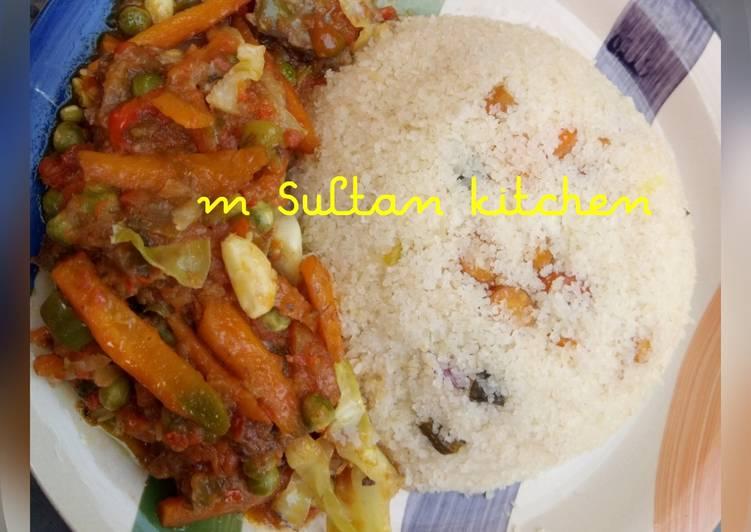 Dambun shinkafa with vegetables soup