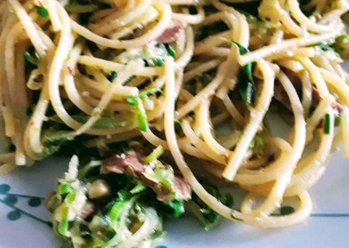 Recipe: Perfect Creamy leek & bacon spaghetti (vegan)