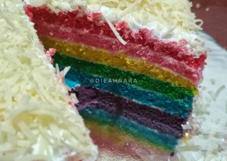 8 Langkah Resep Rainbow Cake Lembut Yang Cepat