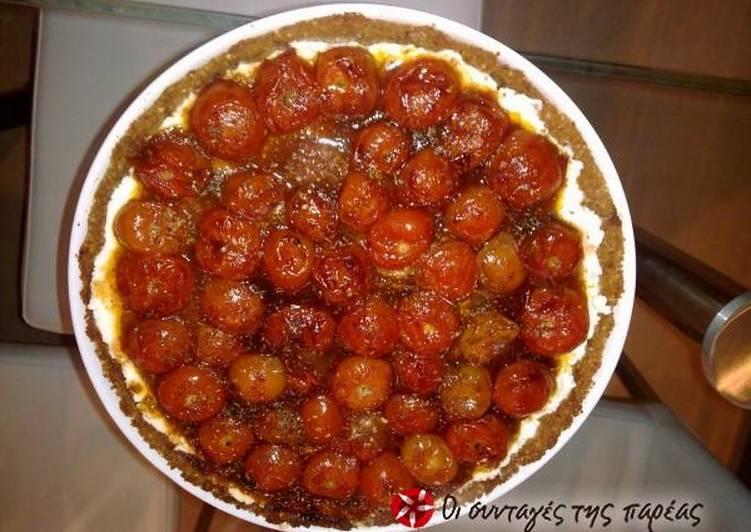 Tart with Cretan dakos and cherry tomatoes