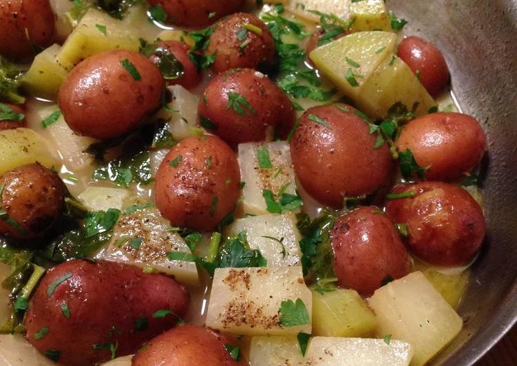 Braised Kohlrabi and Red Potatoes