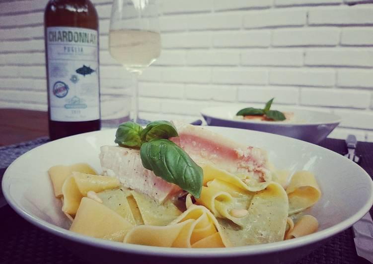 Tuna steak pasta with creamy pesto sauce