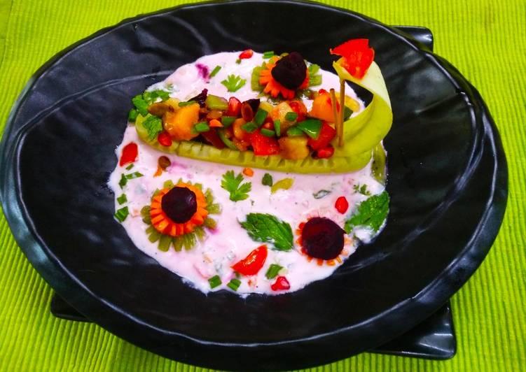 Mix Salad with vegetable Raita