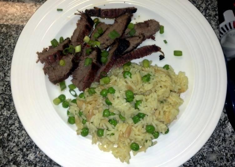 Recipe of Award-winning Thai flank steak with rice pilaf