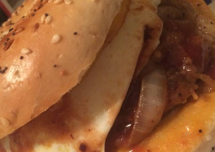 Steak egg and cheese bagel