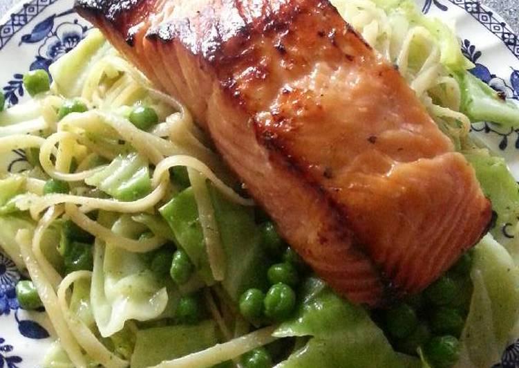 Spring Pasta with Kasu marinede salmon