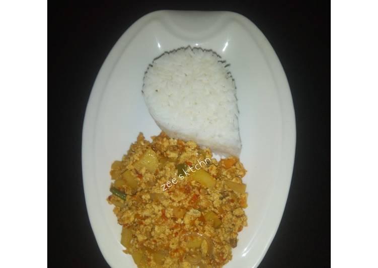 White rice with egg and awara (tofu)sauce