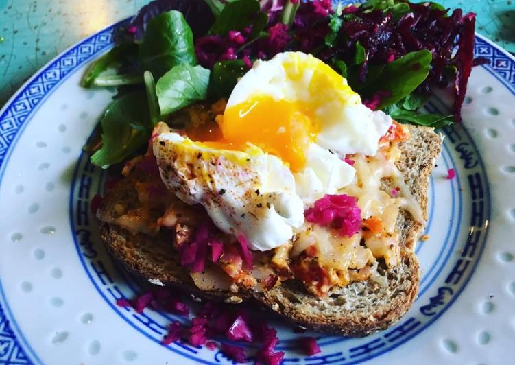 Poormans' Cajun Crab-Melt & Poached Egg