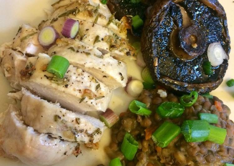 Garlic & Rosemary Chicken with Mushrooms and Lentils